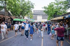 Many people shopping at chatuchak market Stock Images