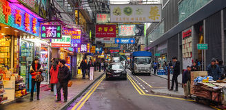 Many people shopping on Tsim Sha Tsui street Royalty Free Stock Photography