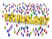 Many people stand around the golden word Psychology Stock Photography