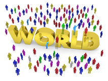 Many people stand around the golden word World Royalty Free Stock Images