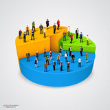 Many people standing on pie chart Royalty Free Stock Photo