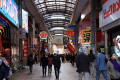 Many people in the street shopping on the morning at Dotonbori a Osaka. Namba, Osaka, Japan, November 21 2017: Many people in the street shopping on the morning Stock Photo
