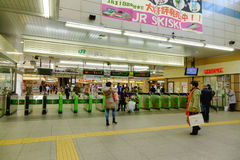 Many people on subway station  in Tokyo, Japan Royalty Free Stock Photography