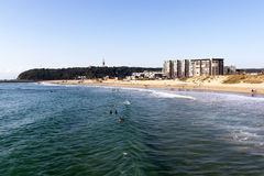 Many people and surfers on Vetch's beach in Durban Royalty Free Stock Photos