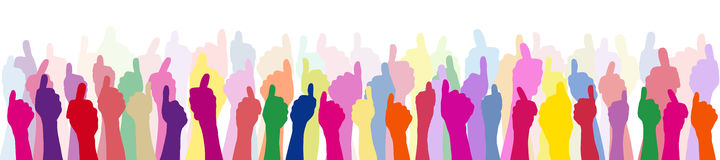 Many people with thumbs up royalty free illustration