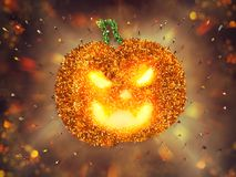 Many people together in a pumpkin shape. 3D Rendering. Many people together in a halloween party. 3D Rendering stock illustration