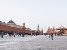 Many people and tourists walk on the Red Square in Moscow Royalty Free Stock Image
