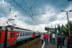 Sergiyev Posad Railway Station in Russia. stock images