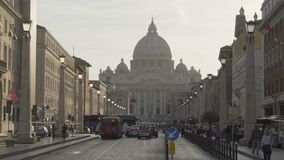 Many people and transport heading for Vatican City, famous landmark in Rome. Stock footage stock video footage