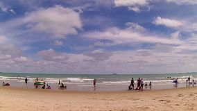 Many people travel at Laem Mae Phim, Timelapse. Rayong - July 30 : Unidentified many people travel at Laem Mae Phim. This white sandy cape can be easily reached stock video footage