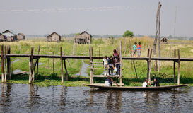 Many people using boats at the Inle lake, Myanmar Stock Photography