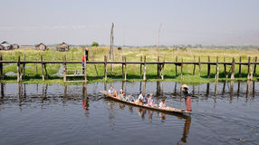 Many people using boats at the Inle lake, Myanmar Stock Photos