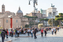 Many people on Via dei Fori Imperiali in Rome. ROME, ITALY - OCTOBER 31, 2016: many people on Via dei Fori Imperiali. It is road in the centre of Rome city that Stock Photography