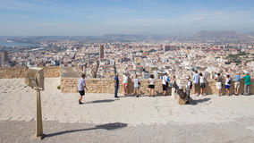 Many people on the viewing platform of the fortress of Santa Bar. Alicante - October 4, 2015: A lot of people on the viewing platform of the fortress of Santa Royalty Free Stock Photography