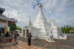 Many people visit Burmese-style chedi of Wat Phra That Doi Kong Mu Stock Image