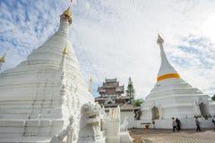 Many people visit Burmese-style chedi of Wat Phra That Doi Kong Mu Stock Images