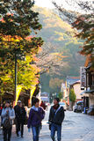 Many people visiting and trekking at Mt.Takao in the autumn Stock Photo