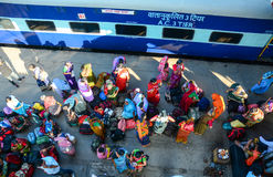 Many people waiting the train at station in Varanasi, India Royalty Free Stock Photos