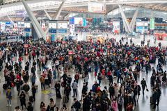 Many people waiting in the Zhaoqing high speed rail station. Zhuhai, DEC 30: Many people waiting in the Zhaoqing high speed rail station on DEC 30, 2019 at stock photography