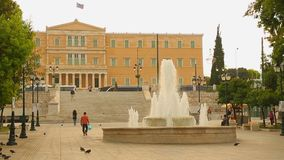 Many people walking in historical and social center of Athens, Syntagma Square stock video