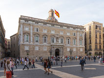 Many people are walking in St. James`s Square in Barcelona Stock Images