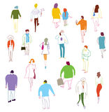 Many people walking, talkink and standing. Crowd illustration Royalty Free Stock Photos