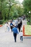 Many people walks on Gogol boulevard. Stock Images