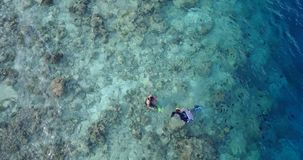 Many people young boys girls snorkeling over coral reef with drone aerial flying view in crystal clear aqua blue. Shallow water royalty free stock photos