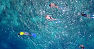 Many people young boys girls snorkeling over coral reef with drone aerial flying view in crystal clear aqua blue. Shallow water stock photos