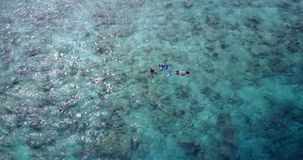 Many people young boys girls snorkeling over coral reef with drone aerial flying view in crystal clear aqua blue. Shallow water royalty free stock images