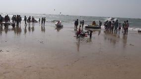 Many peoples on Arabian sea beautiful resort beach in Goa, Panaji stock footage