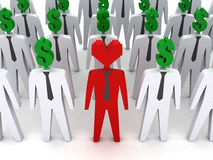 Many peoples with dollar-shaped head and one with heart-shaped head. Concept 3D illustration Royalty Free Stock Image