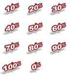 Many percent red signs. Many percent red sign over a white background Royalty Free Stock Photography