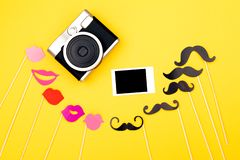 Many photo booth props stock photography