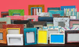 Many photo frame on table Royalty Free Stock Photo