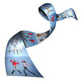 Many photos of people on ribbon, collage. Many photos of people on blue ribbon, collage royalty free illustration
