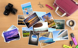 Many pictures of a trip on stock illustration