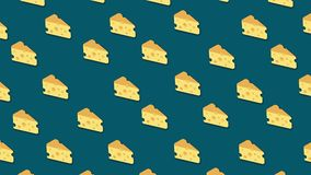 Many pieces of cheese moving on blue background, seamless loop. Animation. Yellow cartoon slices of cheese in horizontal