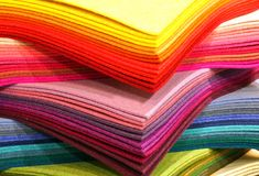 Many pieces of colored felt on sale in the haberdashery shop. Felt panels can be used to create many custom objects Royalty Free Stock Photos