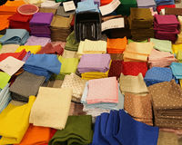 Many pieces of felted fabric with price Royalty Free Stock Photo
