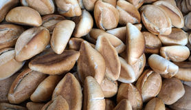 Bunch of salt bread. Many pieces of salted bread called bolillos in mexico, mexican traditional hand made bread in oval shape, used for some snacks and foods stock photography