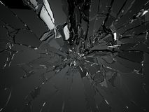 Many pieces of shattered glass over black. Many pieces of shattered glass on black background royalty free stock photography