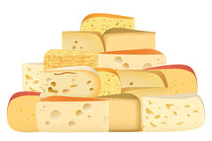 Many pieces of Various types of Cheese together set. Parmesan mozarella swiss emmentaler cheddar gouda collection. Stock Photos