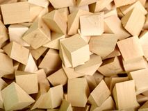 Many pieces of wood are likely to waste from the main product Stock Photos