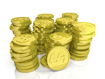 Many piles of gold coins with dollar sign on white background Royalty Free Stock Photo