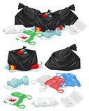 Many piles of trash with plastic bags and bottles Stock Photography