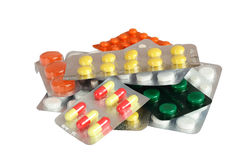 Many pill packs. On white background Stock Photography
