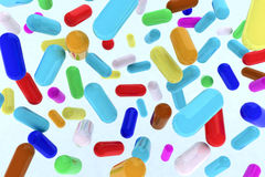 Many pills on the air Royalty Free Stock Photo