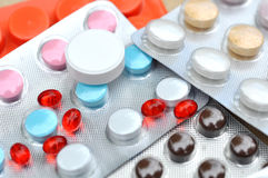 Many Pills, Drugs and Tablets on table stock photography