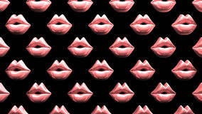 Many Pink Kissing Lips On Black Background stock footage